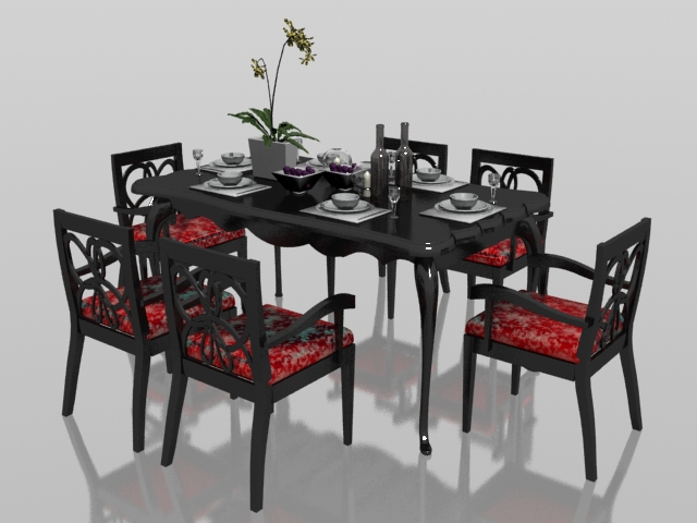 Classic 6 seater dining set with tableware 3d rendering
