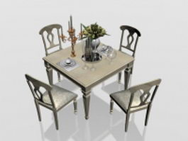 4 seater dining set 3d model preview