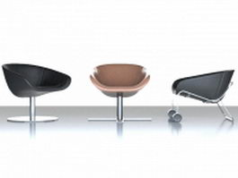Modern scoop chair set 3d preview