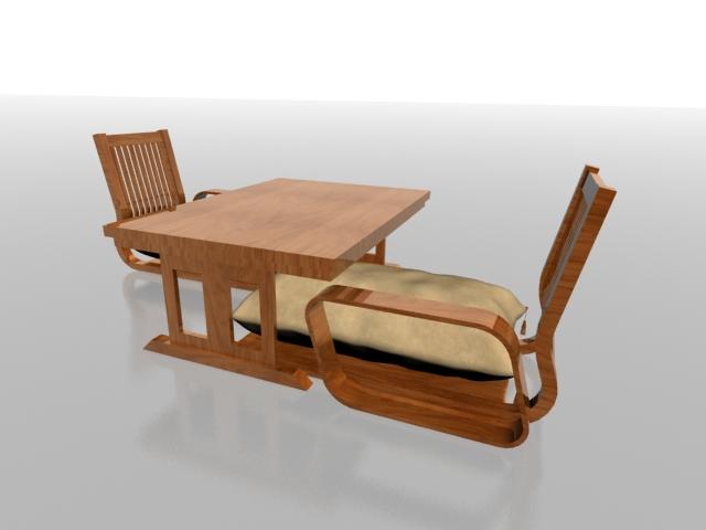 Wood tea table set 3d rendering