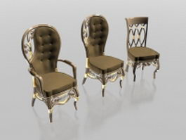 Upholstered classic chair set 3d preview