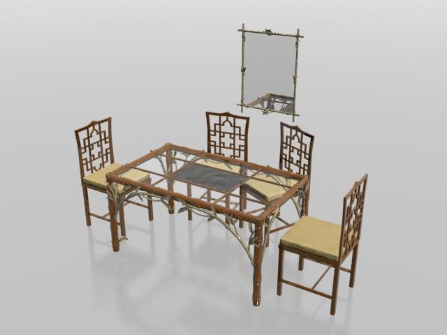 4 seater antique tea table set 3d rendering