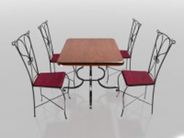 4 seater metal dining sets 3d preview
