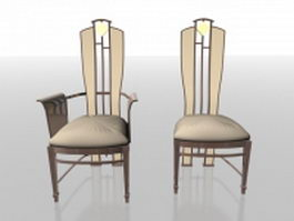 High-back upholstered chair 3d preview