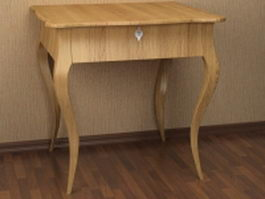 Wood side console table 3d preview
