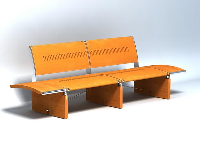 Wood patio bench 3d rendering
