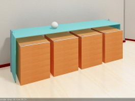 Glass office desk and filing cabinets 3d preview