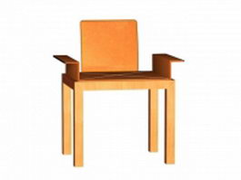 Wood office chair 3d preview