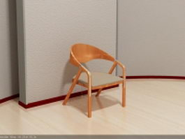 Wood elbow chair 3d preview