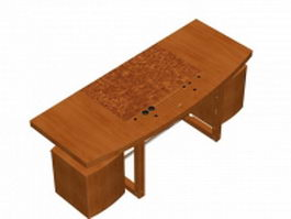 Wood office desk with filing cabinets 3d preview