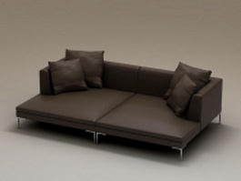 Black fabric sectional loveseat 3d preview