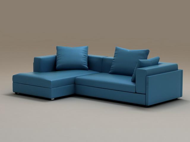 Blue corner sectional sofa 3d rendering