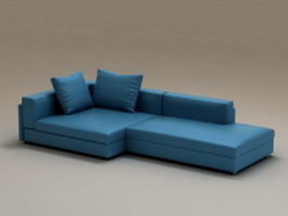 Blue combination corner sofa 3d preview