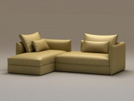 2 piece chaise sofa 3d preview