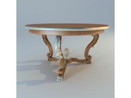 Round antique coffee table 3d preview