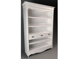 Classical wood bookshelf 3d preview
