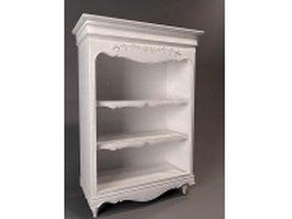 White antique bookshelf 3d preview