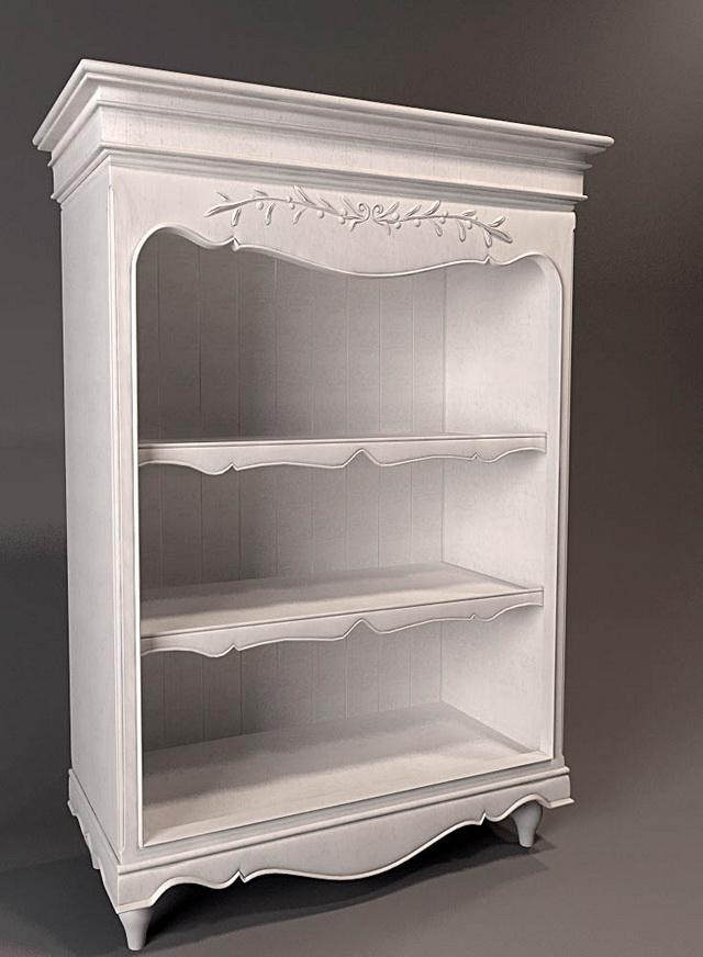 White antique bookshelf 3d rendering