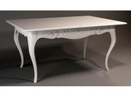 Classical wooden white dining table 3d model preview