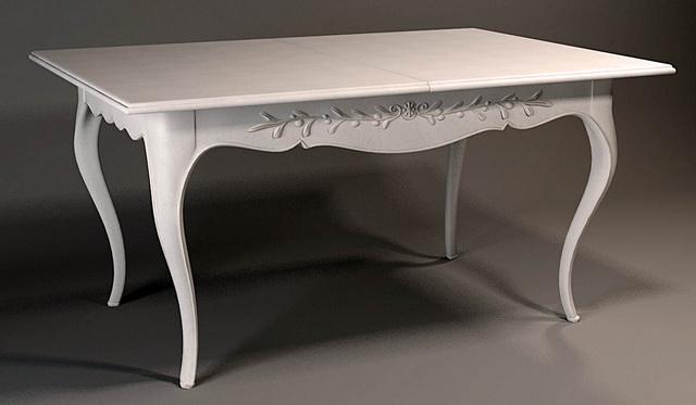 Classical wooden white dining table 3d rendering