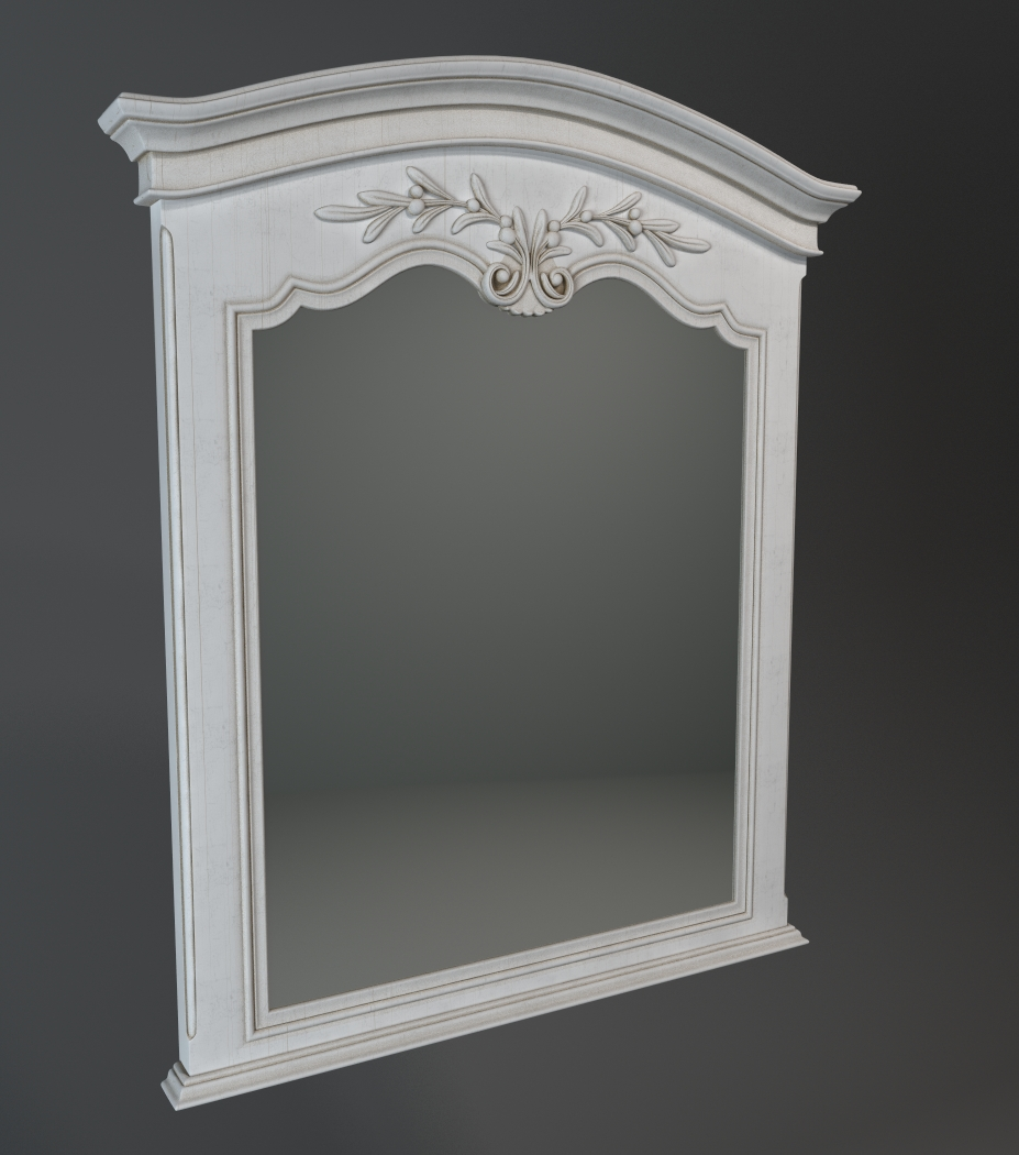 Antique style carved wood mirror 3d model 3dsmax files ...