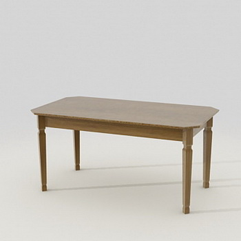 Wood dining table 3d rendering