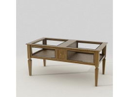 Wood and glass top coffee table 3d preview