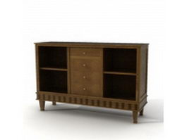 Vintage wood side cabinet 3d preview