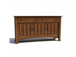 Transitional style side cabinet 3d preview