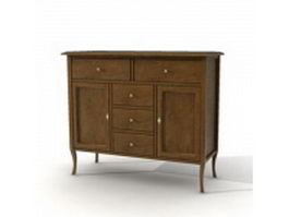 Antique side cabinet 3d preview