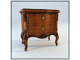2 drawers antique side cabinet 3d preview