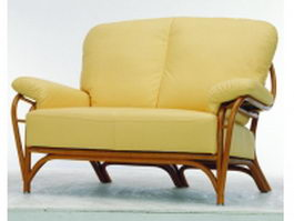 Wood base upholstered loveseat 3d preview