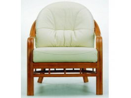 Wood base upholstered armchair 3d preview