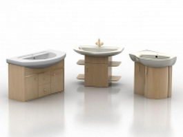 Three kinds of wood washstand 3d preview