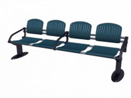 4 seater waiting bench 3d preview