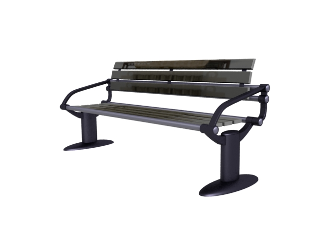 Metal base park bench 3d rendering