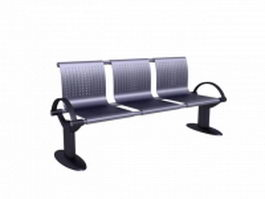 3 seater waiting room bench 3d preview
