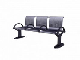 Public seating waiting bench 3d preview