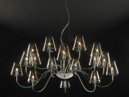 16 light modern chandelier 3d model preview