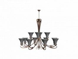 Brushed copper chandelier 3d model preview