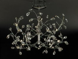 Chrome arm crystal chandelier 3d model preview