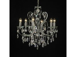 6 light crystal chandelier 3d model preview