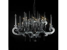 Chrome hanging chandelier 3d model preview