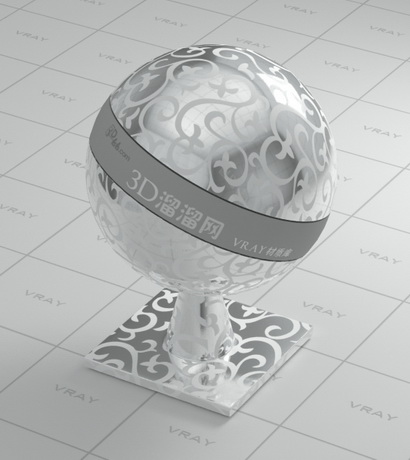 Silver metal with pattern design material rendering
