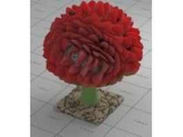 Red flower vray material