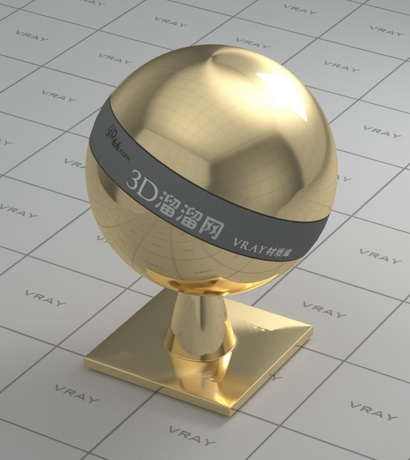Highly polished brass material rendering