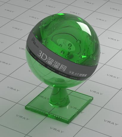 Green glass bottle material rendering