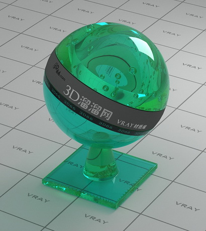 Green polished glass material rendering