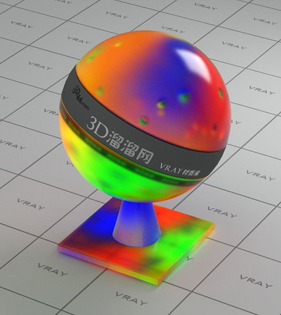 Multi-colored crystal material rendering