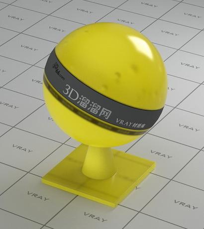 Yellow transparent plastic material rendering